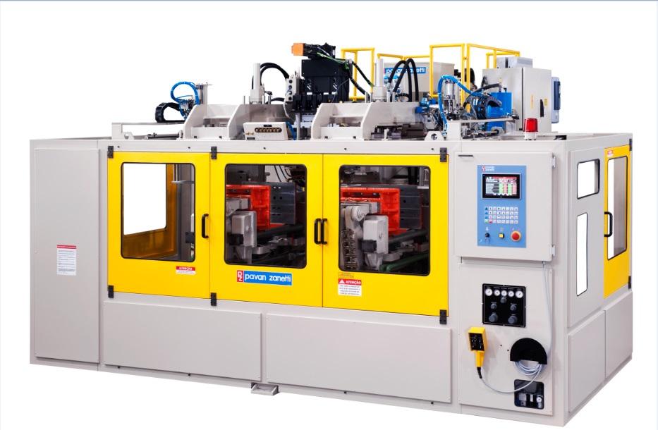 Plástico Moderno, Sopradora híbrida é mais rápida e usa pouco óleo hidráulico